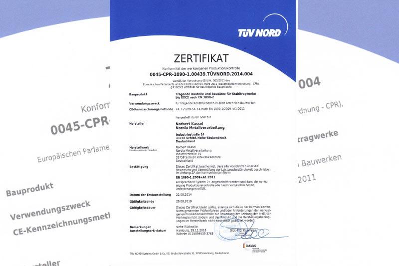 Tüv 1090-1 zertifiziert